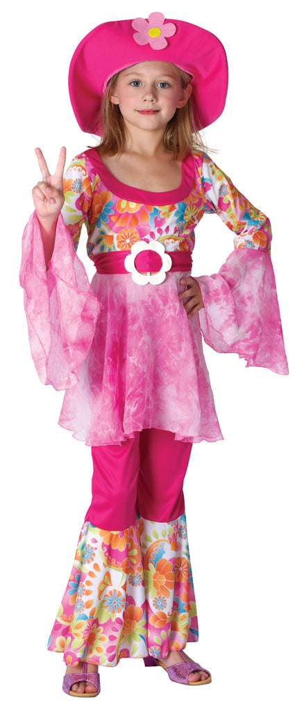 Hippy Diva Girl (XL) Pack Contents : Shirt with belt, Trousers, Hat Female Kids To fit child of height 146cm 159cm Colour : Pink