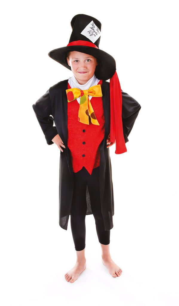 Mad Hatter 134cm Childrens Fancy Dress Costume Boys 134cm Black Red