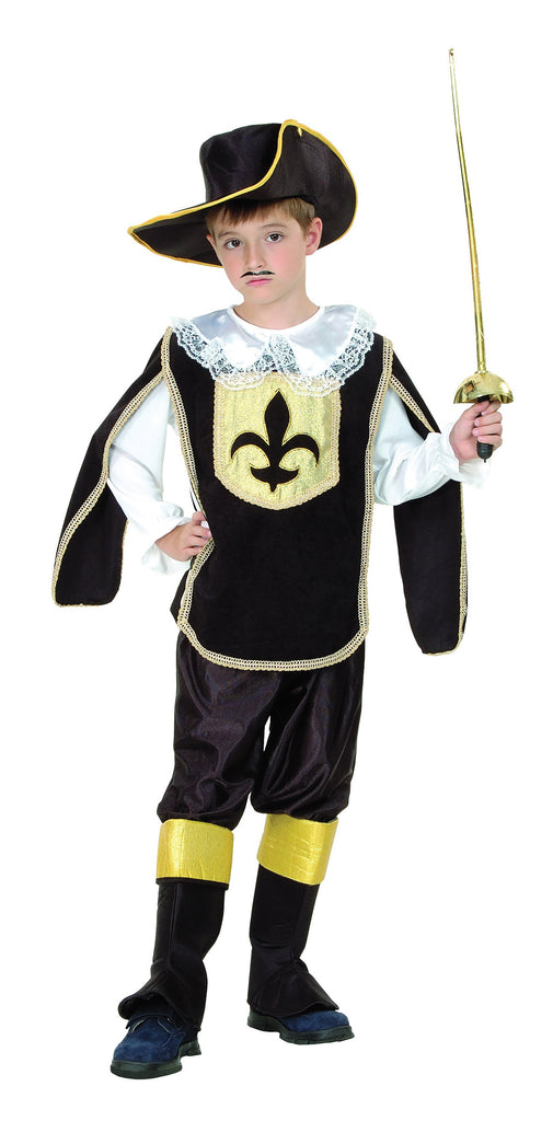 Musketeer Boy Large 9 12 years Black Yellow
