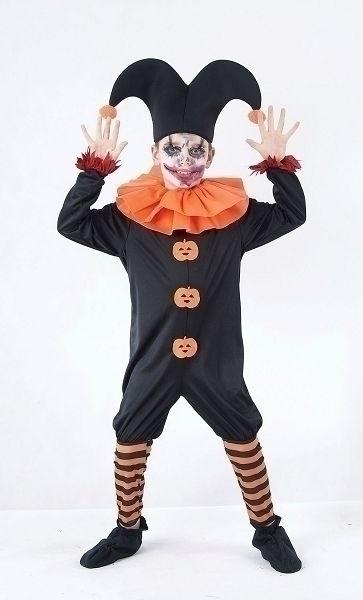 Evil Jester Large Childrens Fancy Dress Costumes Boys Large 9 12 years Orange Black