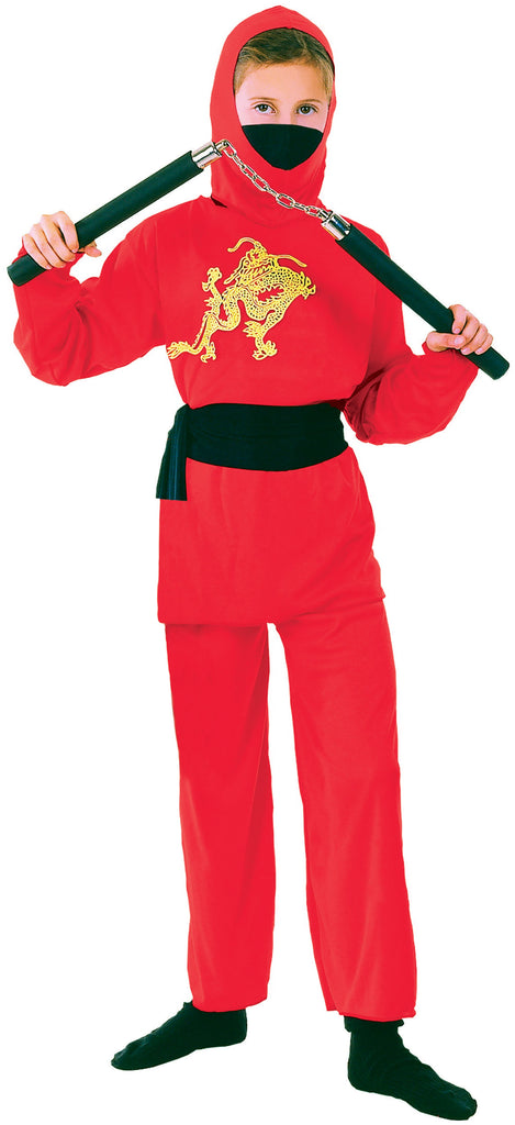 Ninja Red Small Childrens Fancy Dress Costumes Girls Small 5 7 years Pink