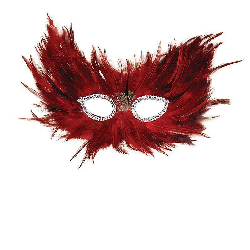 Red & Black Feather |Eye Masks| Unisex One Size - Eye Masks Mad Fancy Dress