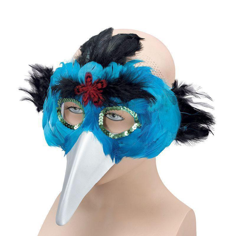 Bird Feather Mask & Beak Turquoise |Eye Masks| Unisex One Size - Eye Masks Mad Fancy Dress