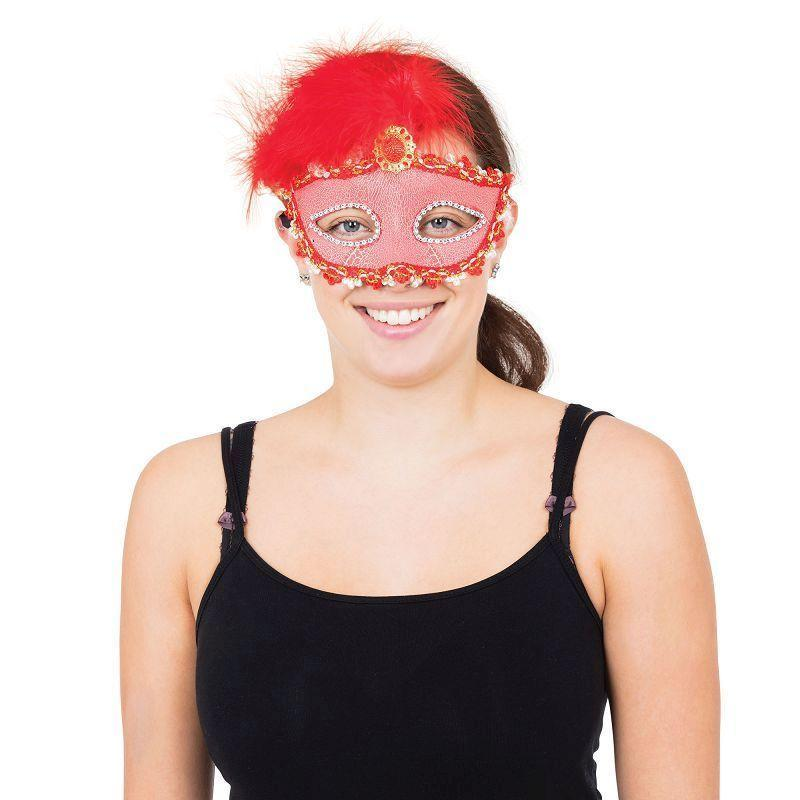 Red Tall Feather Eyemask |Eye Masks| One Size Fits Most - Eye Masks Mad Fancy Dress