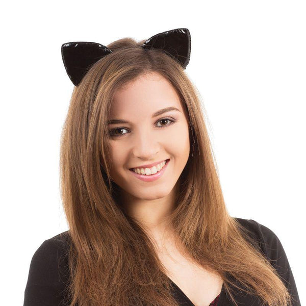 Womens Cat Ears On Band Shiny |Miscellaneous Disguises| Female One Size Halloween Costume - Miscellaneous Disguises Mad Fancy Dress