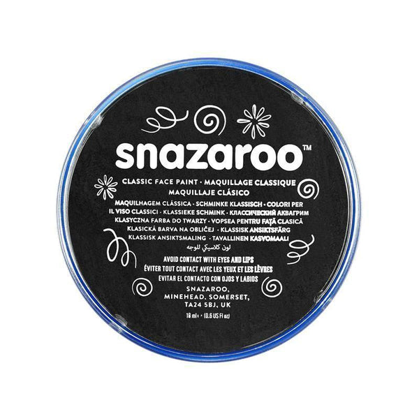 Snazaroo Black 18 Ml Tubs |Make Up| Unisex 18Ml X 5 Pack - Make Up Mad Fancy Dress