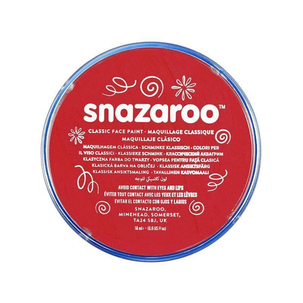 Snazaroo Red 18 Ml Tubs |Make Up| Unisex 18Ml X 5 Pack - Make Up Mad Fancy Dress