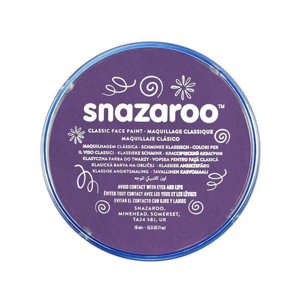 Snazaroo Purple 18 Ml Tubs |Make Up| Unisex 18Ml X 5 Pack - Make Up Mad Fancy Dress