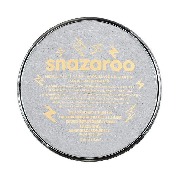 Snazaroo Silver 18Ml Tubs |Make Up| Unisex 18Ml X 5 Pack - Make Up Mad Fancy Dress