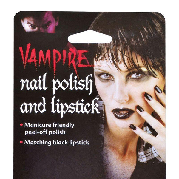 Black Nail Polish & Lipstick |Make Up| Unisex One Size - Make Up Mad Fancy Dress
