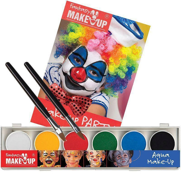 Aqua 6 Colour Box With Book + Sponge |Make Up| Unisex One Size - Make Up Mad Fancy Dress