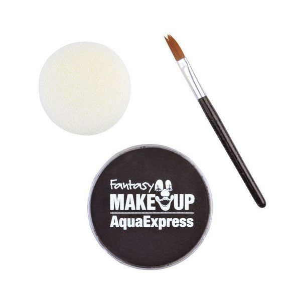 Aqua Makeup Black 15 With Sponge + Brush |Make Up| Unisex One Size - Make Up Mad Fancy Dress