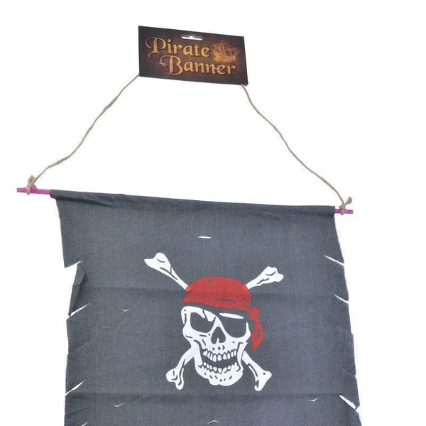 Pirate Banner |Distressed Fabric| Black Party Goods Unisex One Size - Party Supplies Mad Fancy Dress