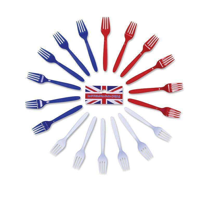 Red/white/blue Forks |Party Goods| Unisex One Size - Party Supplies Mad Fancy Dress