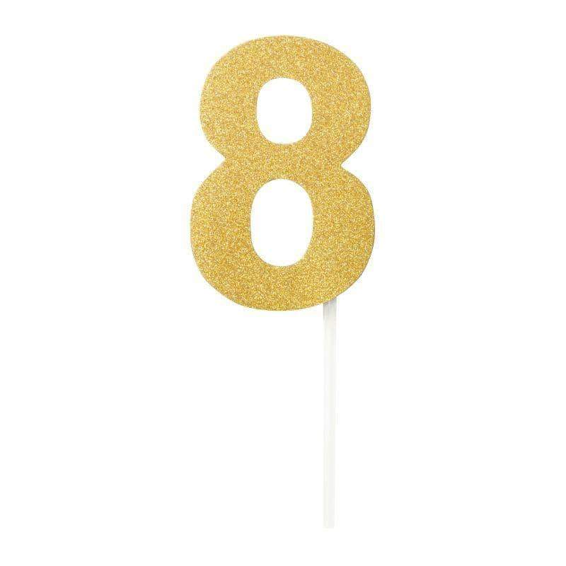 Diamond Cake Toppers Gold No. 8
