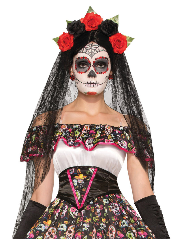 Day of the Dead Veil Black Costume Accessories Female One Size