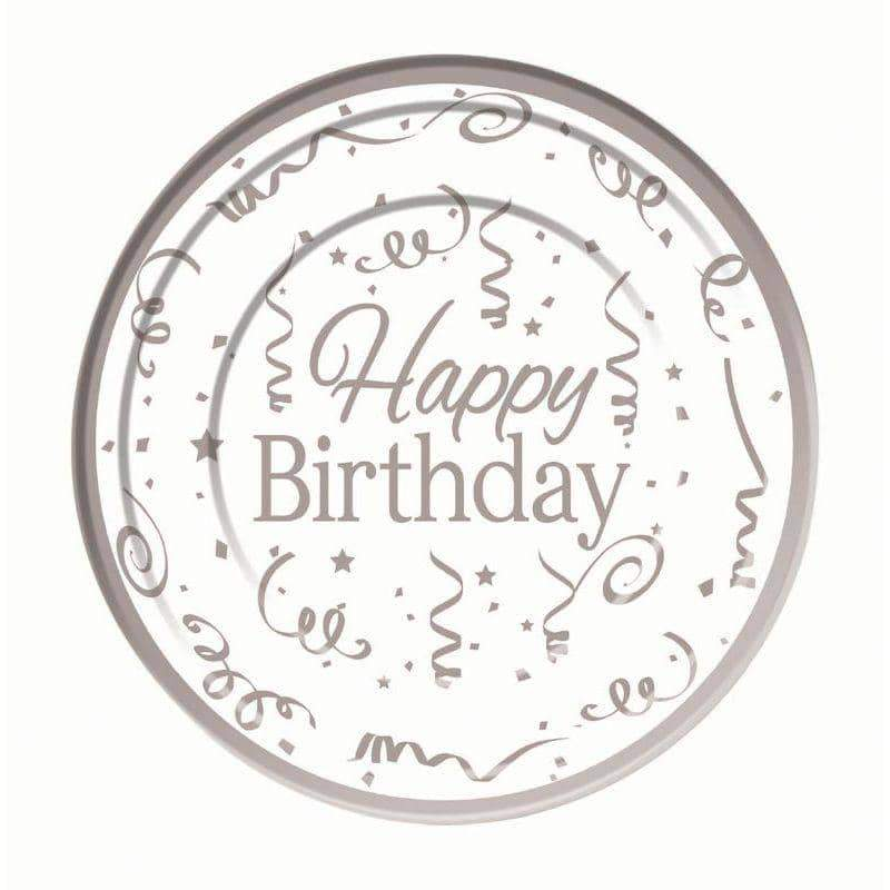 Silver Happy Birthday Plates Plastic (10 pack) 26cm