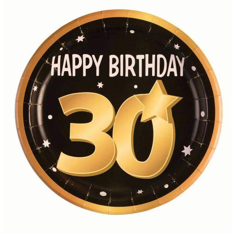 "30th Birthday Paper Plates 9""( 8 in pkt)"
