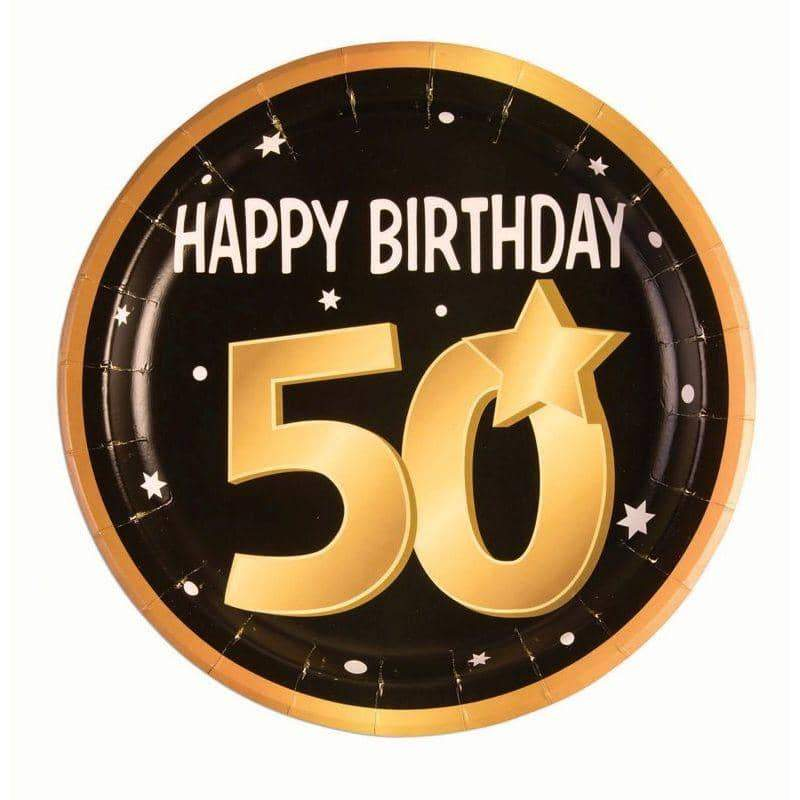 "50th Birthday Paper Plates 9"" (8 in pkt)"