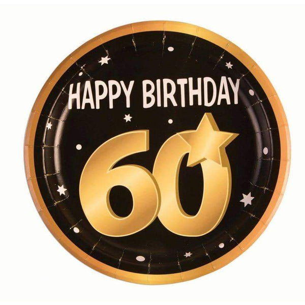 60th Birthday Paper Plates ( 8 in pkt)