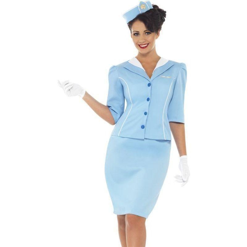 Air Hostess Costume Adult Blue - Heroes & Role Model Mad Fancy Dress