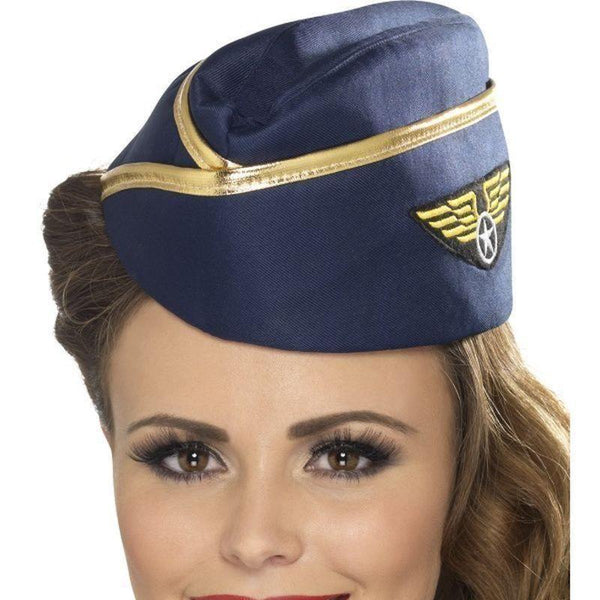 Air Hostess Hat Adult Blue - Heroes & Role Model Mad Fancy Dress