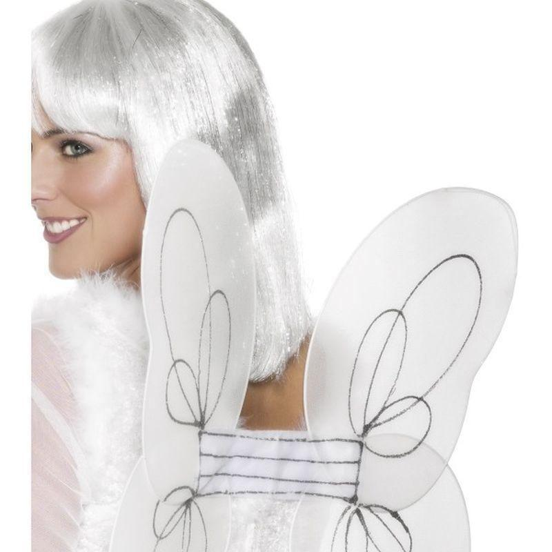 Angel Glitter Wings White And Silver Adult Black - Faries Wings & Wands Mad Fancy Dress