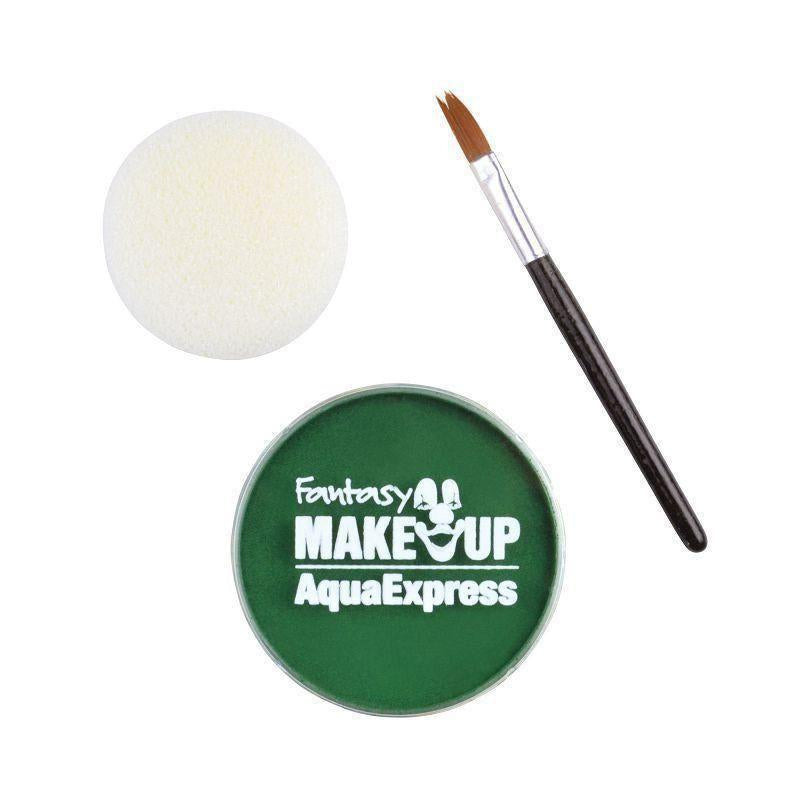 Aqua Makeup Green 15 With Sponge +Brush |Make Up| Unisex One Size - Make Up Mad Fancy Dress