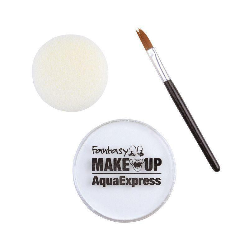 Aqua Makeup White 15 With Sponge + Brush |Make Up| Unisex One Size - Make Up Mad Fancy Dress