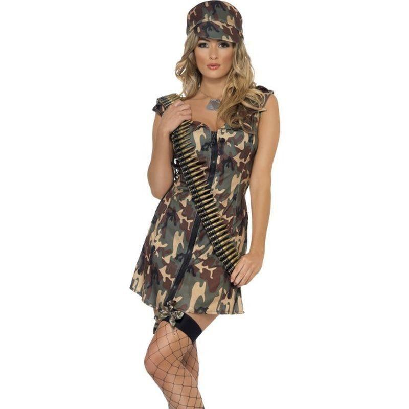 Army Girl Costume Adult Camo - Fever Mad Fancy Dress