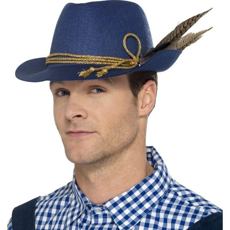 Authentic Bavarian Oktoberfest Hat Adult Blue - Around The World Mad Fancy Dress