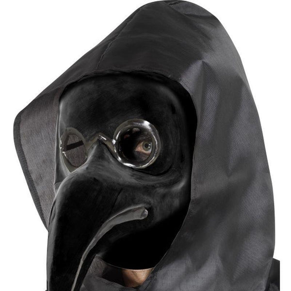 Authentic Plague Doctor Mask Black Adult Black - Around The World Mad Fancy Dress