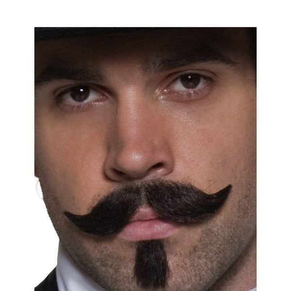 Authentic Western Gambler Moustache Adult Brown - Cowboys & Indians Mad Fancy Dress