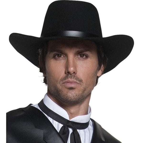 Authentic Western Gunslinger Hat Adult Black - Cowboys & Indians Mad Fancy Dress