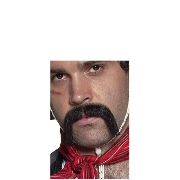 Authentic Western Mexican Handlebar Moustache Adult Black - Cowboys & Indians Mad Fancy Dress