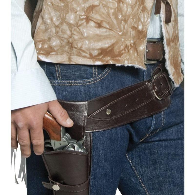 Authentic Western Wandering Gunman Belt & Holster Adult Brown - Cowboys & Indians Mad Fancy Dress