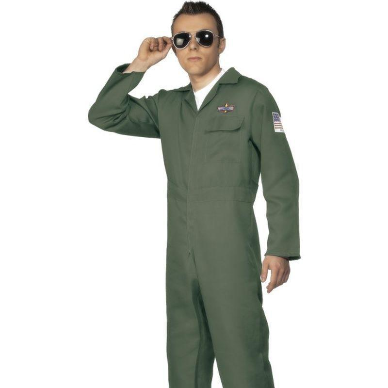 Aviator Costume Adult Green - Land Sea & Air Forces Mad Fancy Dress