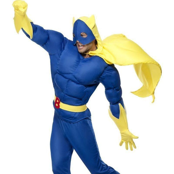 Bananaman Padded Costume Adult Blue/yellow - Bananaman Licensed Fancy Dress Mad Fancy Dress