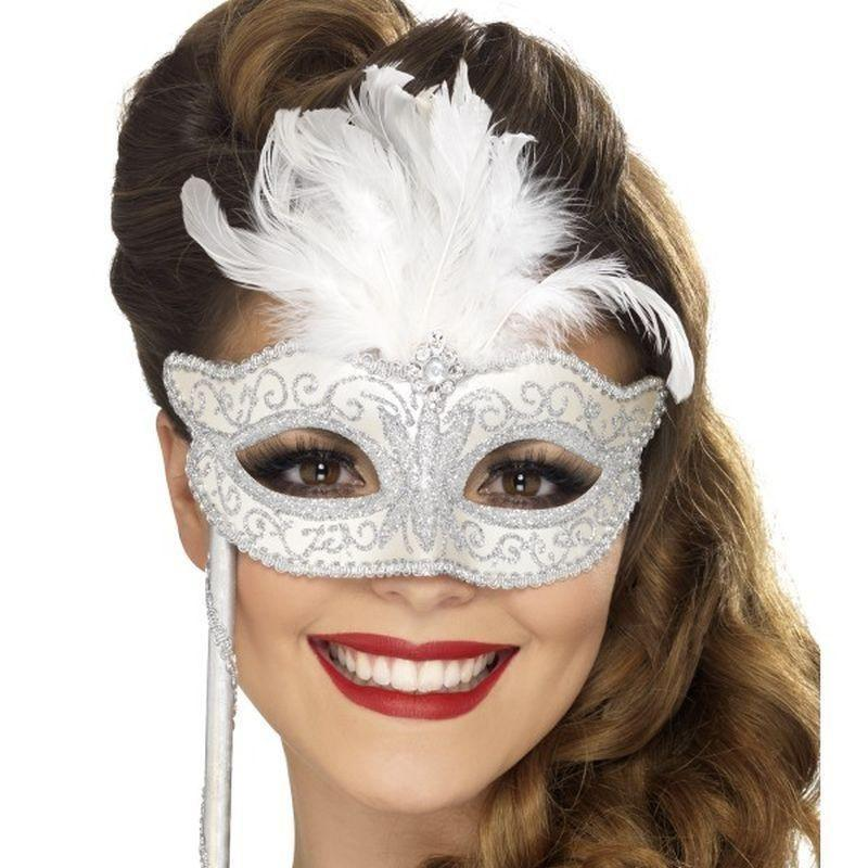 Baroque Fantasy Eyemask Adult Silver - Eyemasks Mad Fancy Dress