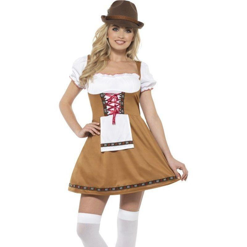 Bavarian Beer Maid Costume Adult Brown - Oktoberfest Fancy Dress Mad Fancy Dress