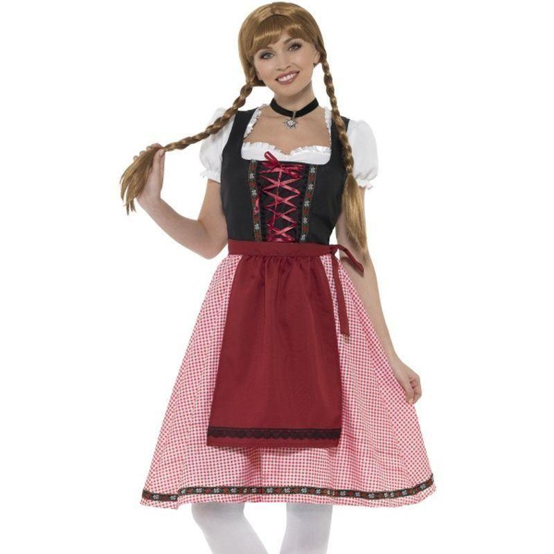 Bavarian Tavern Maid Costume Adult Red/black - Oktoberfest Fancy Dress Mad Fancy Dress