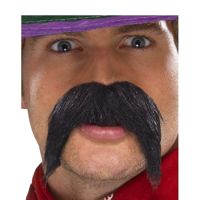 Big & Bushy Gringo Tash Adult Black - Cowboys & Indians Mad Fancy Dress