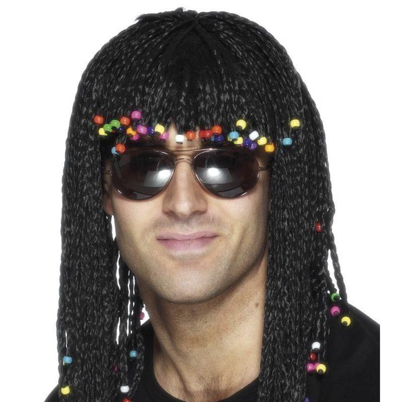 Braided Wig Adult Black - Mens Wigs Mad Fancy Dress