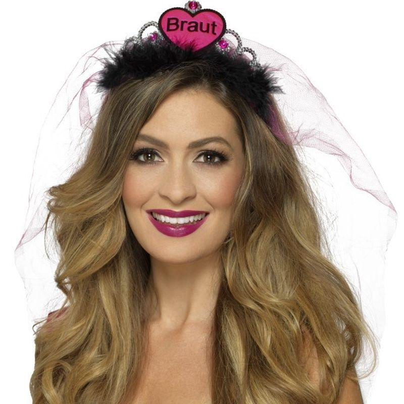 Braut Tiara Adult Pink/black - Hen & Stag Party Costumes Mad Fancy Dress