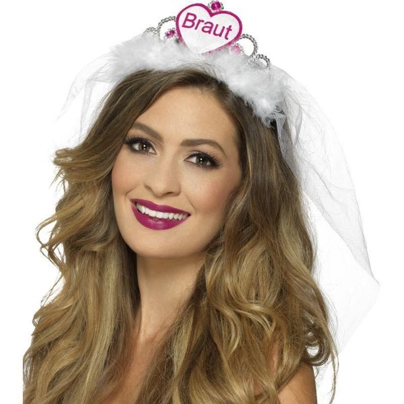 Braut Tiara Adult White/pink - Hen & Stag Party Costumes Mad Fancy Dress