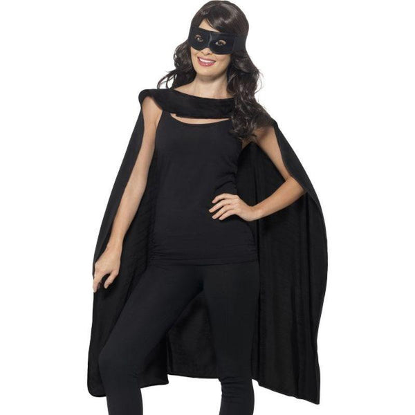 Cape Adult Black - Heroes & Role Model Mad Fancy Dress