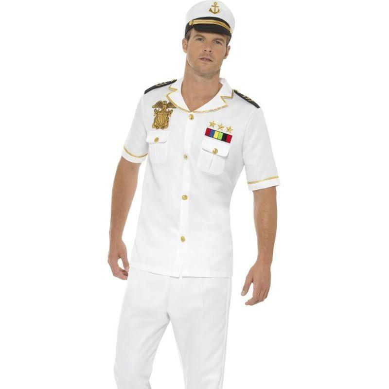 Captain Costume Adult White - Land Sea & Air Forces Mad Fancy Dress