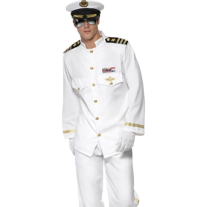 Captain Deluxe Costume Adult White/gold - Land Sea & Air Forces Mad Fancy Dress