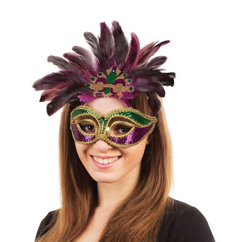 Carnival Purple/green/gold+Feathers G/f |Eye Masks| Unisex One Size - Eye Masks Mad Fancy Dress