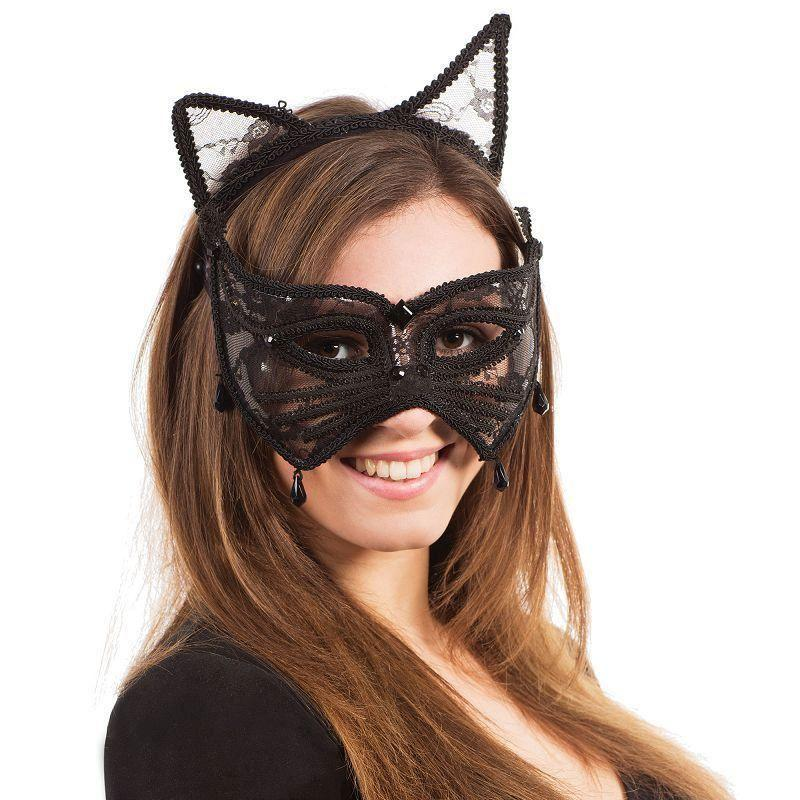 Cat Mask + Ears On Headband |Eye Masks| Unisex One Size - Eye Masks Mad Fancy Dress
